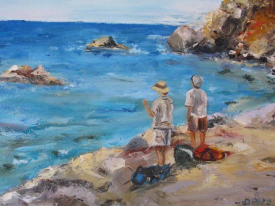 Randonneurs au bord de mer