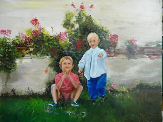 Rom et Val au jardin